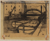 Men loading barges - industrial scene