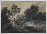 Wooded landscape with figure and cattle