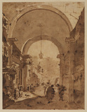 Archway with figures