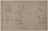Studies of peasants - six heads (recto)