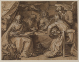 Four Evangelists seated at a table with their attributes