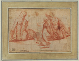 Studies of two nude figures (verso)