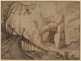 Imaginary landscape, with castle in hollowed rock, foot bridge and approach