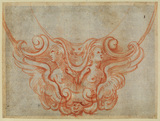 Design for the bottom of a cartouche with torsos of two angels