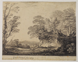 Wooded landscape with two peasant boys, donkey and cottage