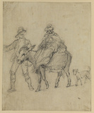 Woman riding a donkey, led by a man
