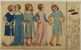 Five figures in medieval costumes