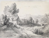 Wooded upland landscape with cottage, figures and cows