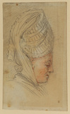 Head of a woman wearing large cap, in profile, turned to right
