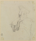 Study of man on horseback (verso)