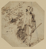 Study of a young boy standing by a bank