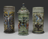 "Left: Beaker (""Reichsadlerhumpen""), Middle: Beaker ('Kurfurstenhumpen') and lid, Right:Beaker (""Kurfurstenhumpen""), with enamelled and gilt decoration"