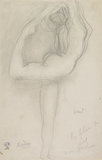 Female nude in profile holding her leg behind her head (Alda Moreno?), called vent or fleur du ciel or flambeau