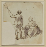 Man with pitchfork, and woman nursing a child