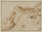 Landscape with building on top of a cliff and figures