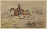 Cavalry man galloping on horse with scene of battle in background