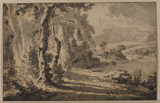 Landscape with waterfall and figures