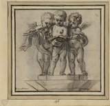 Group of three putti making music