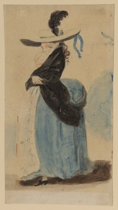 Standing figure of a woman in a large hat