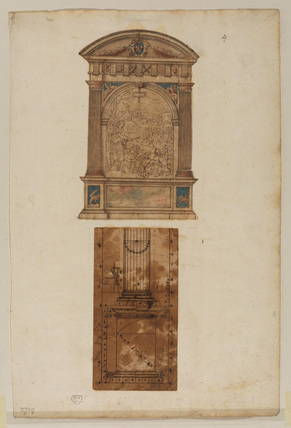 Design for a sculptured altarpiece (upper drawing)
