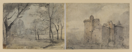 Landscape and castle (verso)
