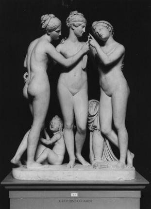 The Graces with Cupid's Arrow and Cupid playing a Lyre