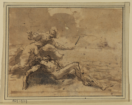 Man lying on a shore and female figure