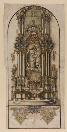 Plan and perspective view of an altar