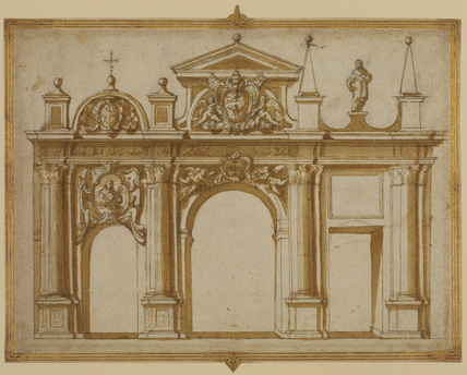 Design for a triumphal arch or gate with Franciscan symbols and the arms of Paul V