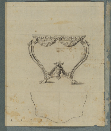 Elevation and plan of a side-table