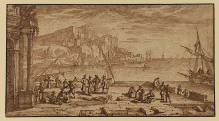Seaport with figures