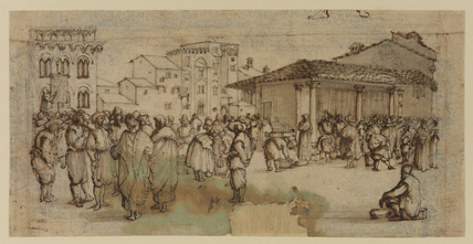 Market square in Italy, with figures