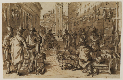 Poultry market in an imaginary Venetian setting