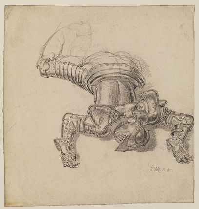 Man in armour lying on his face