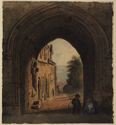 View through a Gothic gateway
