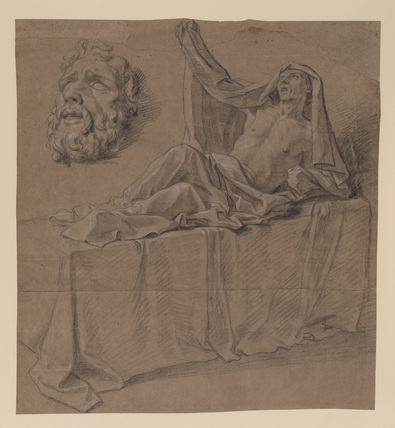 Reclining figure, and mask of a bearded man