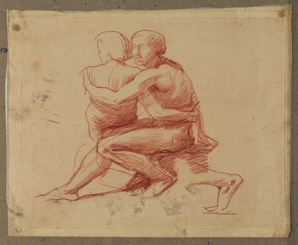 Male and female figures embracing (recto)