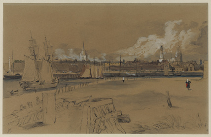 View of Calais from the harbour - after Samuel Prout
