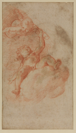 Study of two putti on clouds (recto)