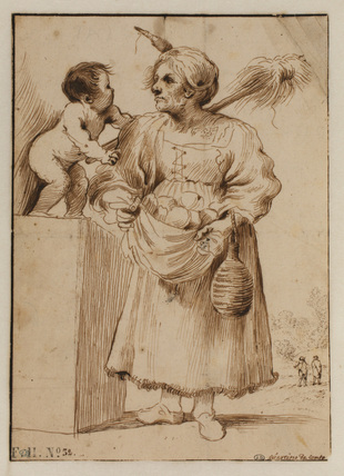 Old woman with a small child