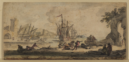 Landscape with estuary, ships and figures