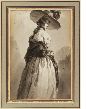 Standing lady in wide hat
