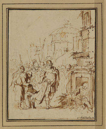 Diogenes in his tub visited by Alexander