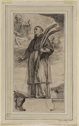 Dominican male martyr saint with the attributes of a Bishop, and Saint Peter and cherubin