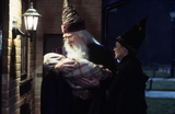 Dumbledore holding baby Harry with McGonagall