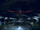 Fawkes flying through Chamber of Secrets