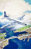 Airliner over harbour