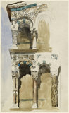 Part of the Façade of the destroyed Church of San Michele in Foro, Lucca, sketched in Colour