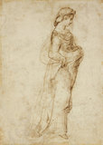 Recto: Female Figure walking to right