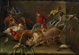 Decorative Still-Life Composition with Birds and Two Bats
